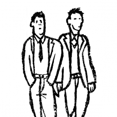 Two Businessmen Dating on White Background.