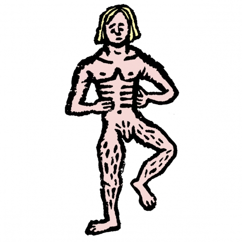 Nude White Man on White Background